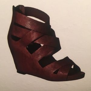 Mossimo Pilar Brown Strappy Wedge Platform Sandals